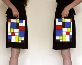 Red Blue Yellow Fold over clutch - women hand bag printed with Geometric squares pattern on it with Black zipper