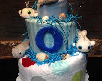 Under The Sea Topsy Turvy Diaper Cake