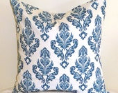 Blue Accent Pillows - Blue Pillow Cover Cushions - Blue Pillows - Floral Teal Blue Pillow Cover 18 x 18