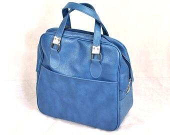 Vintage Bowling Bag Gym Workout Athletic Tote Case Weekender Case Luggage Bright Blue Bag