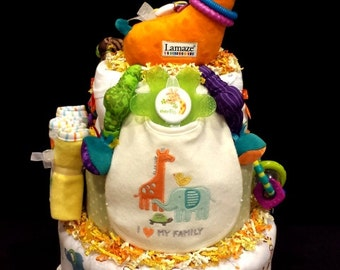 Stretch The Giraffe Diaper Cake - Jungle Themed Diaper Cake With Lots Of Baby Items