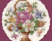 FREE SHIPPING Embroider Spring Flower Basket Focal Mosaic Tiles Handmade Dinnerware Plates Dishes Mosaics
