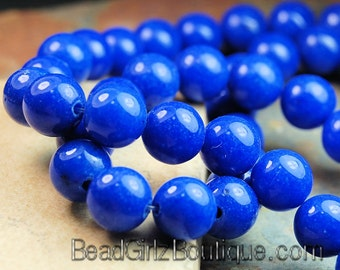 8mm Lapis Blue Mountain Jade Round Gemstone Beads - 15 Inch Strand