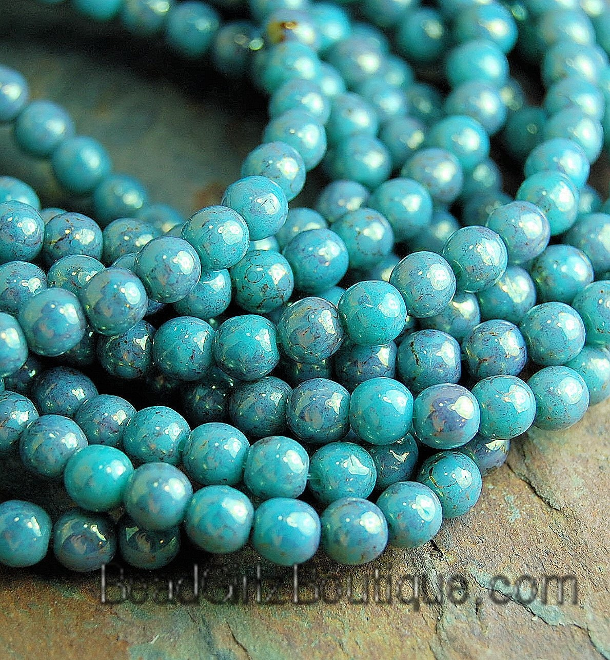 Pink Topaz Turquoise Luster 4mm round beads 100 Czech