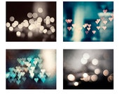 Sparkle Photography Set, bokeh abstract dark brown teal aqua turquoise blue grey gray pink peach hearts sparkly photo circle wall art prints