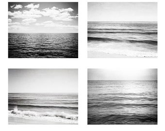 Ocean Black and White Photography Set - Four Seascape Photographs 4 - grey sea horizon landscapes, gray gallery wall prints, nautical photos