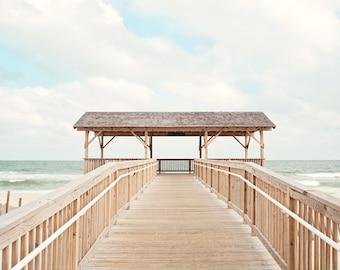 "Coastal Photography - pale blue light neutral long beach island print pavilion dune fence seashore white cream brown, ""5th Street Pavilion"""