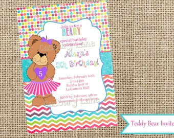 Teddy Bear Party-Build A Bear Birthday-Teddy Bear Invite-Casbury Lane