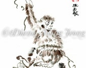 "Watercolor Chinese Brush Painting Card ""Monkey See"""