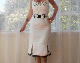 """1950s """"Bridget"""" Pin up White Wiggle Halterneck Wedding Dress with Polka Dot Kick Pleats and Belt - Custom made to fit"""