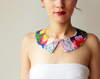 Floral Peter pan collar - Cotton and lace - Blue - Brazil - Detachable collar