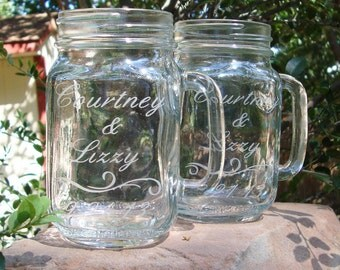 Custom Etched Mason Jar Mugs - Redneck Wine Glass - Gift for the Couple - Anniversary Gift - Etched Glassware - Personalized Mugs