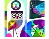 kaleidoscope, mid century, owl, print
