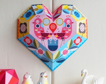 DIY paper, heart, wall decor