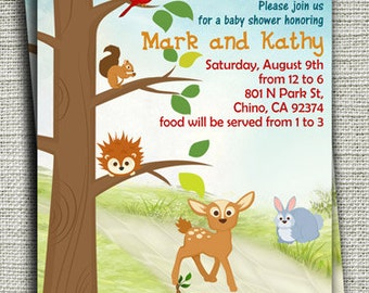 Forest Friends I Baby Shower Invitations, Woodland Forest Baby Shower Invitations-DIY Printable