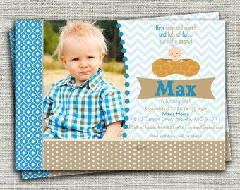 Little Peanut Birthday Invitation, Boy Peanut Birthday Invitation - Digital File You Print