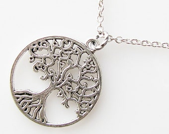 long tree of life necklace, family tree necklace, gift for gardener, love nature gift, bridesmaid gift, boho wedding jewelry, bohemian