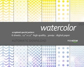 "Modern Digital Paper + Watercolor - 059 + Scrapbook Quality Paper Pack (12 x 12""- 300 dpi) 6 sheet pack paper + Instant Download - Geometric"