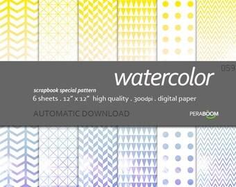 Ombre orange and blue modern digital scrapbook paper with geometric patterns, Watercolour, Chevron