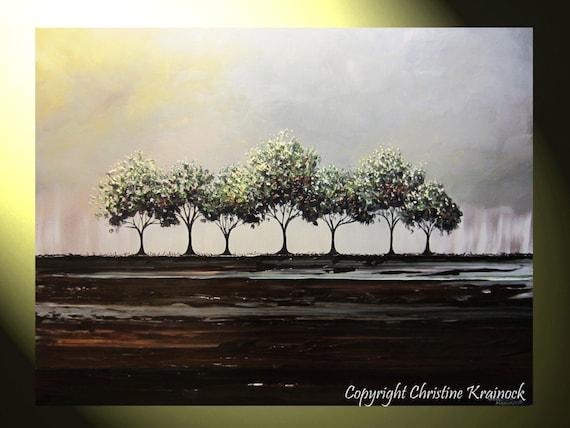 Items Similar To Custom Art Abstract Painting Trees Green
