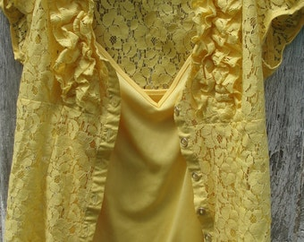 Lace yellow 2 piece blouse jacket and cami