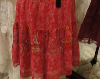 Gypsy boho bohemian hippie flowy paisley skirt, romantic Stevie NIcks