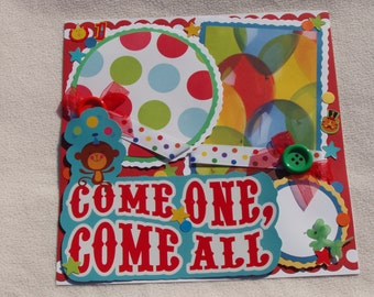 First Birthday Circus Party BigTop Balloons 12x12 Premade Scrapbook Page by KARI