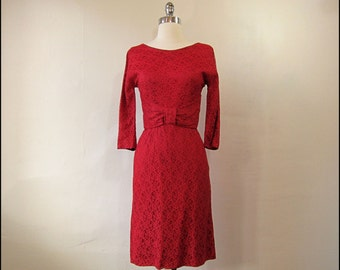 SALE-Coupon Code 1960s Red Lace Wiggle Dress