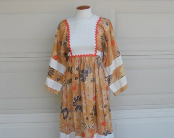 70s Hippie Sunflower Dress . Orange Pinafore Maxi Dress XS-S