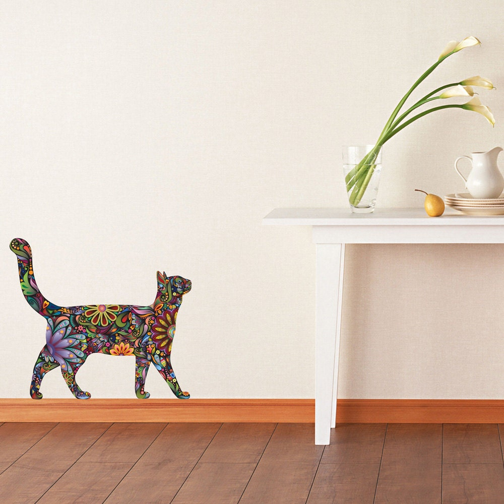 Walking Cat Wall Sticker Repositionable Floral Cat Wall