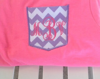 Monogrammed purple chevron pocket appliquéd t-shirt