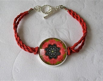 Bracelet with Glass dome and cotton cord band, Original Kaleidoscope Design, 7 Raspberries