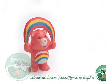 Cheer Bear Mini: Vintage 1980s Care Bear with Rainbow