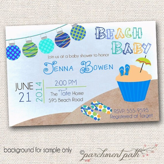 beach baby shower invitation summer baby shower boy baby shower