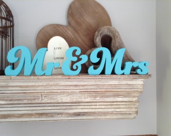 10cm Hand-painted Free-standing Wedding Letters - Mr & Mrs - Funky