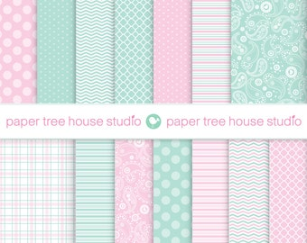 Digital Papers - Mint Green and Pink - Paisley, Plaid, Chevron, PolkaDots - 14 Digital Files - 8.5x11 and 12x12 inch - PNG Format - ID1082