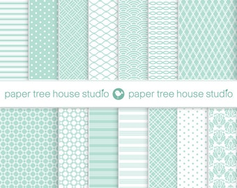 Digital Papers - Mint Green Shabby Chic - Sea Green, Pastel - Fourteen 8.5 x 11 and 12 x 12 inch Print Ready Files - PNG Format - ID 1094