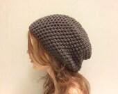 Crochet Slouchy Unisex Hat - DARK TAUPE