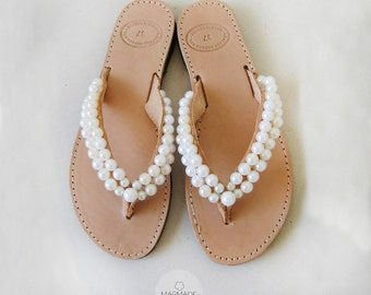 Bridal leather sandals by Marmade - Handmade leather flip flops decorated with pearls
