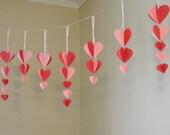 Valentine's  Decorations / paper Heart Garland / Pink and red Valentine decor  / Valentine decoration