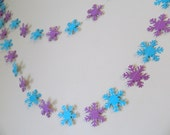 Snowflake garland - Frozen Inspired birthday Garland- Winter Birthday Decor - Classroom Teachers Decor- your color choices