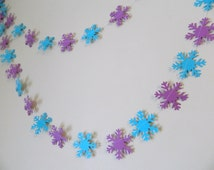 Snowflake garland - Frozen Inspired birthday Garland- Winter Birthday Decor - Classroom Teachers Decor- your color choices