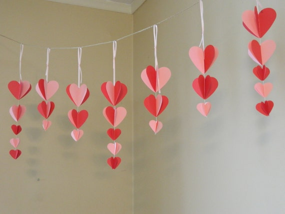 Items similar to valentine 39 s decorations paper heart garland pink and red valentine decor - Heart wall decoration ...