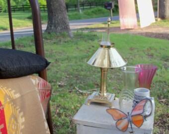 Brass Hurricane Lamp Electric Antique Classic Estate Find