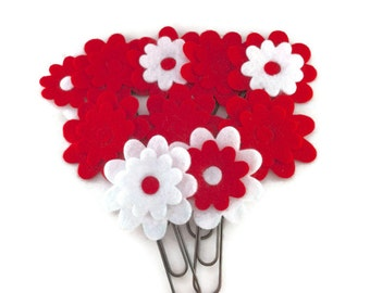 Valentine's Day Red White Flower Favor Gifts, Bookmark, Decorative Paper Clips, Teacher Gift, Eco Felt, Set of 10