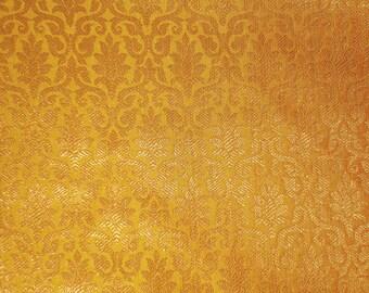 One yard  mustard yellow and gold  Indian silk brocade fabric