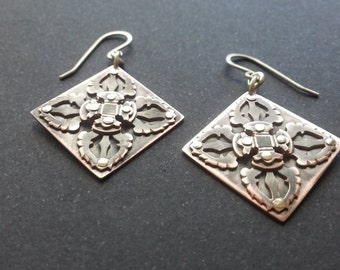 Vajra Earrings - Handcut oxidised copper.