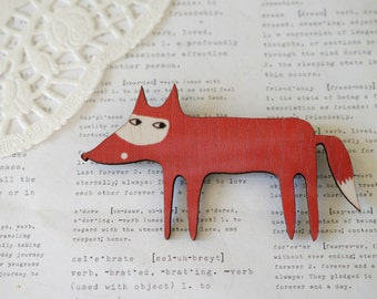 Wooden Fox Brooch 1