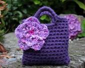 Little Girl Little Flower Purse in Purple