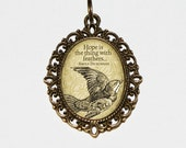 Hope Is The Thing With Feathers Necklace, Poetry Jewelry, Emily Dickinson, Bird Jewelry, Oval Pendant